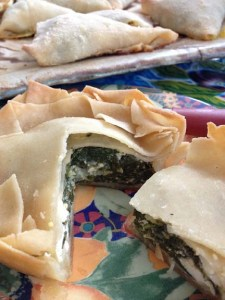Mediterranean Cooking from the Garden with Linda Dalal Sawaya—spanokopita with gluten free pita