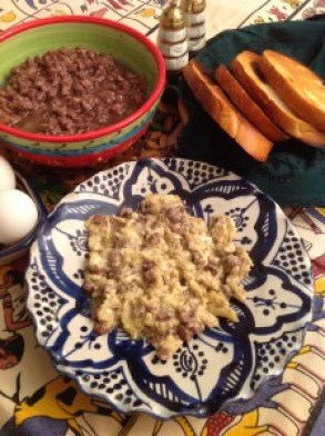 Bayad ma'a Qawarma - Eggs and Preserved Meat