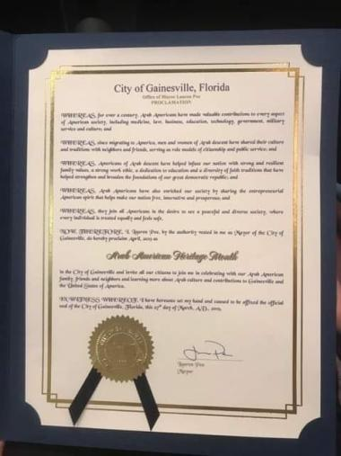 Proclamations and Resolutions Issued in Commemoration of National Arab American Heritage Month-April 2019