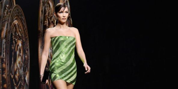 Bella Hadid Wore a Tiny '90s Tube Dress on the Versace Runway