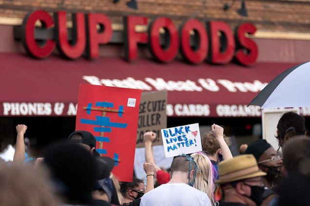 Image: On May 26, 2020, Protesters gathered in front of Cup Foods, near the spot where Floyd was killed. Photo: Lorie Shaull