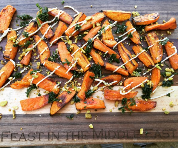 Maple Glazed Sweet Potatoes with Tahini Sauce
