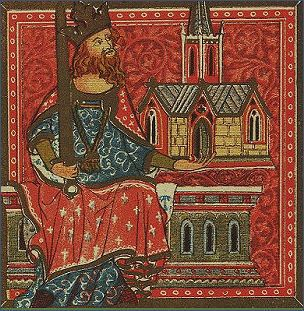 Tapestry depicting King Offa of Mercia