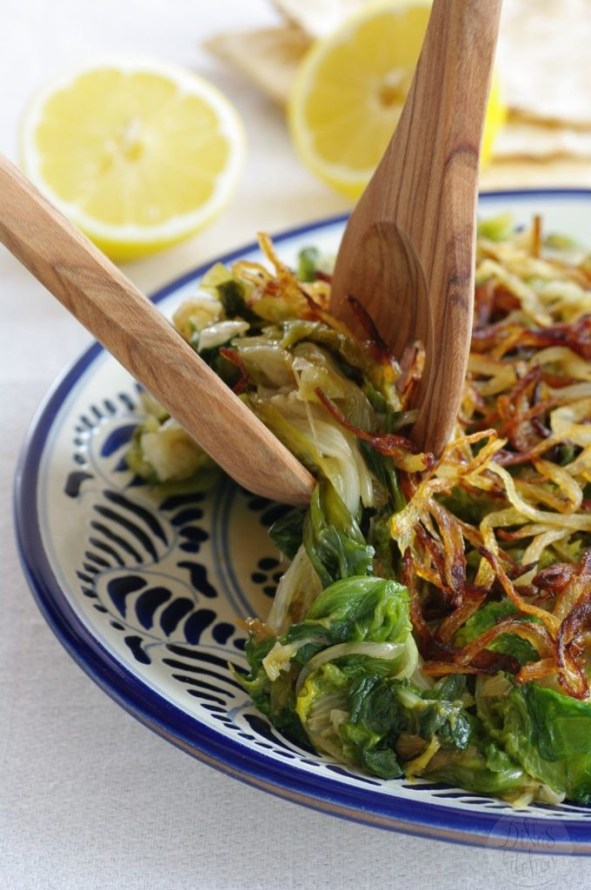 Hindbeh - Dandelion Greens with Caramelized Onions