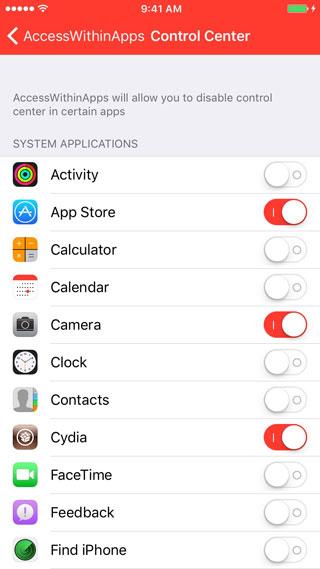 أداة AccessWithinApps لتفعيل أو إلغاء فتح مركز التحكم في التطبيقات