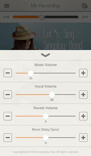 تطبيق SingPlay مشغل لحذف الموسيقى عن الأصوات