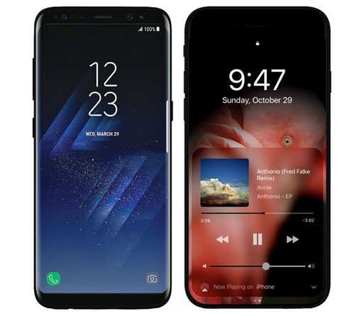 صورة تخيلية للأيفون 8 إلى جانب صورة حقيقية لهاتف جالاكسي S8