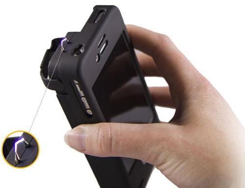 غطاء أيفون مع قطعة إطلاق رذاذ الفلفل