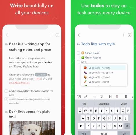 تطبيق Bear لتدوين الملاحظات