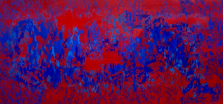 Composition in Red and Ultramarine, Milk paint on paper, 158 x 316 cm 2016