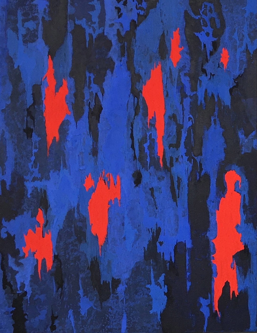 Composition in Blues and Orange 1, Milk Paint on board, 64 x 43 cm 2016, Private Collection