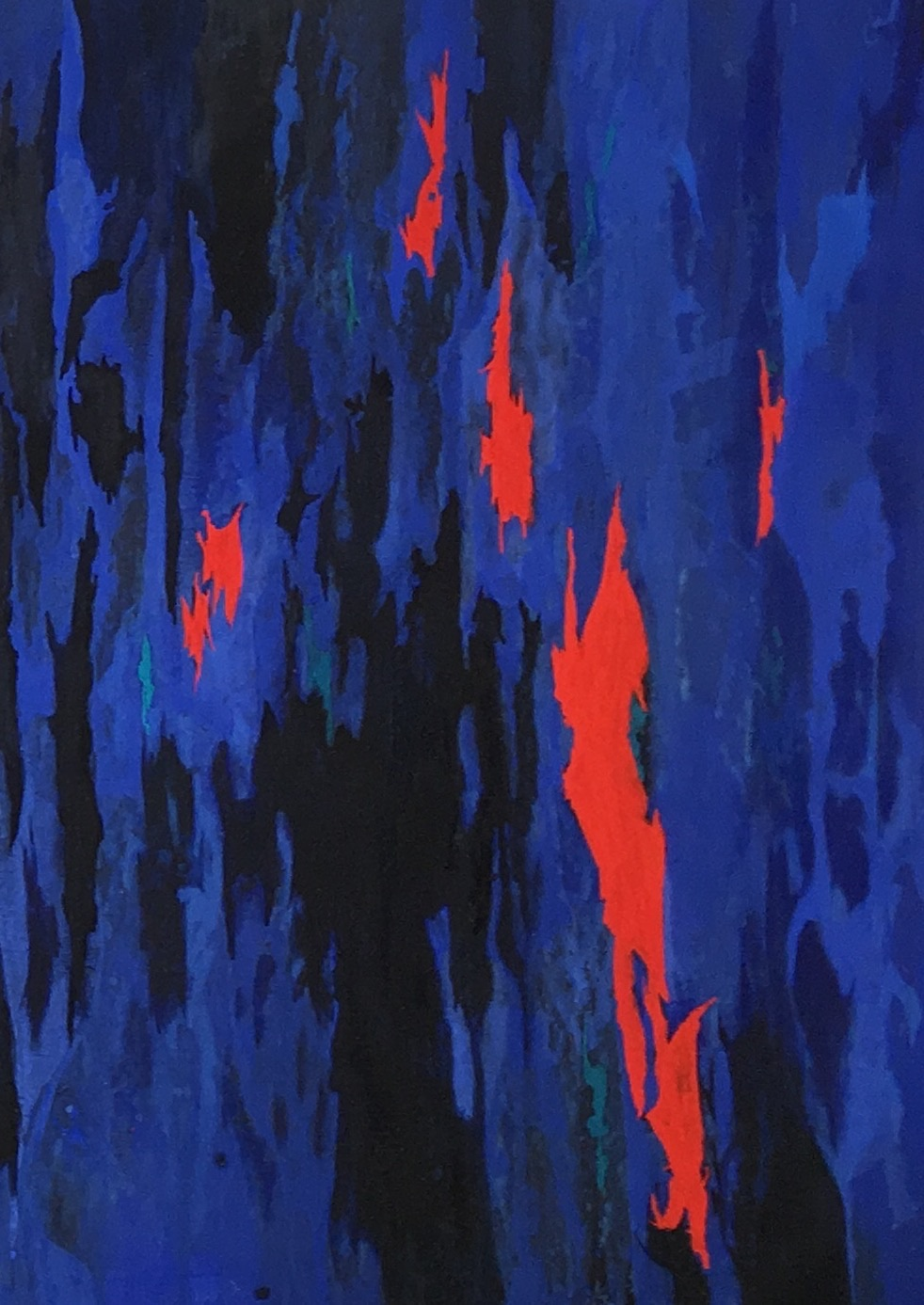 Composition in Blues and Orange 2, Milk Paint on board, 64 x 43 cm 2016, Private Collection