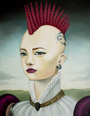 oil portrait of a punk rock duchess
