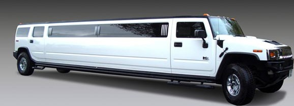 A white hammer head type limousine