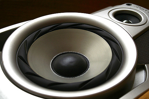 A silver and black speakers