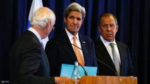 US Secretary of State John Kerry and Russian Foreign Minister Sergei Lavrov (R) look toward UN Special Envoy Staffan de Mistura (L) during a press conference following their meeting in Geneva where they discussed the crisis in Syria on September 9, 2016. The United State and Russia agreed a plan to impose a ceasefire in the Syrian civil war and lay the foundation of a peace process, US Secretary of State John Kerry said.  / AFP / POOL / KEVIN LAMARQUE        (Photo credit should read KEVIN LAMARQUE/AFP/Getty Images)