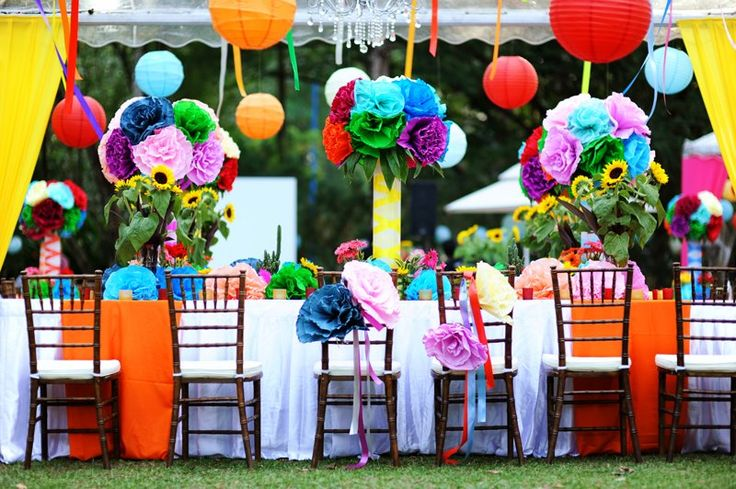 Mexican Bridal Shower Colorful Settings Sombrero And Mustache Cupcakes
