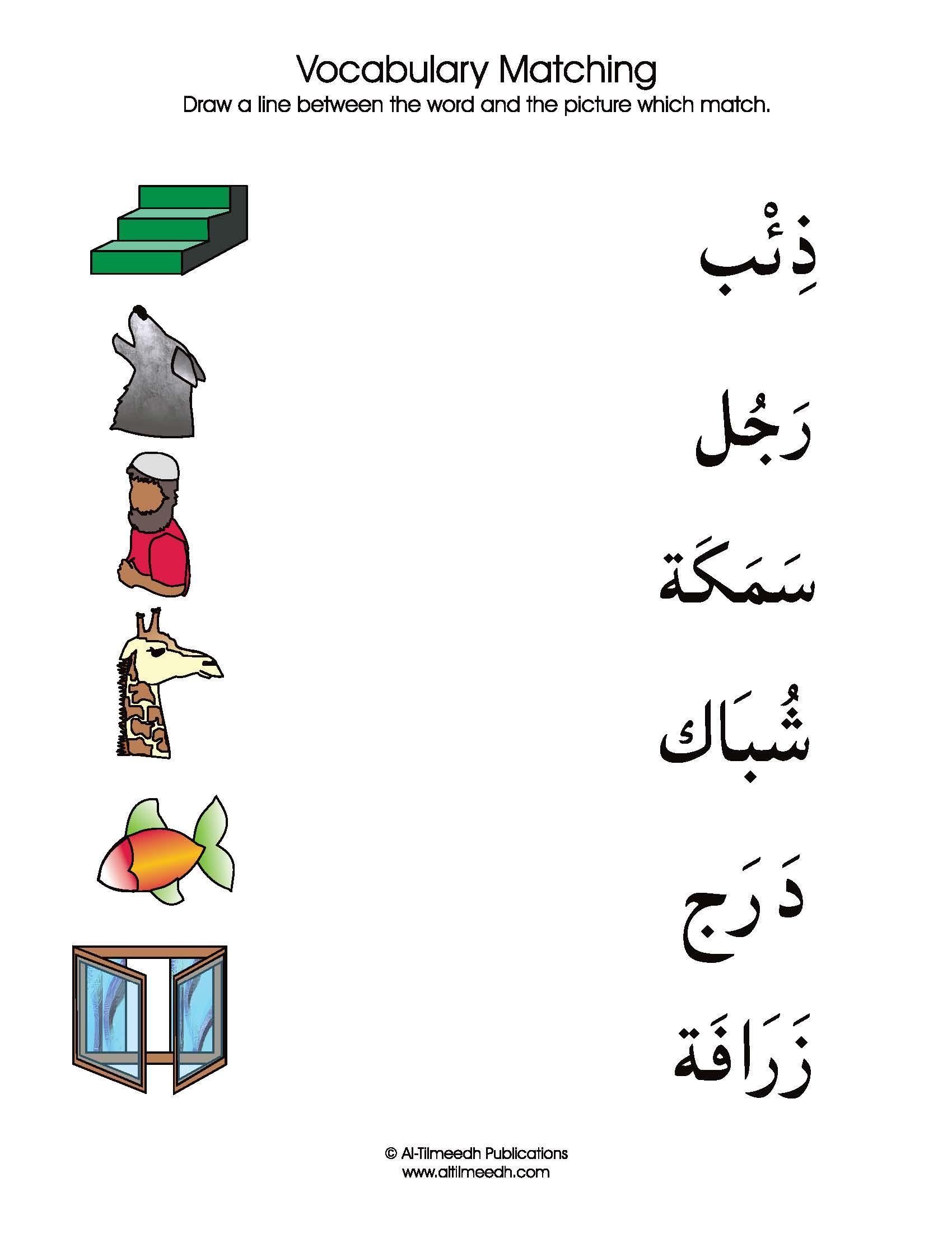 Vocabulary Matching Worksheet Set