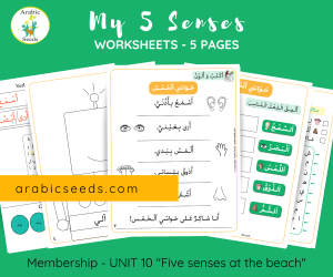 My five senses Arabic worksheets printable by Arabic Seeds