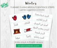 Winter Arabic Flashcards and Sentences Strips - Printable Resource for kids and non-native speakers - Arabic Seeds