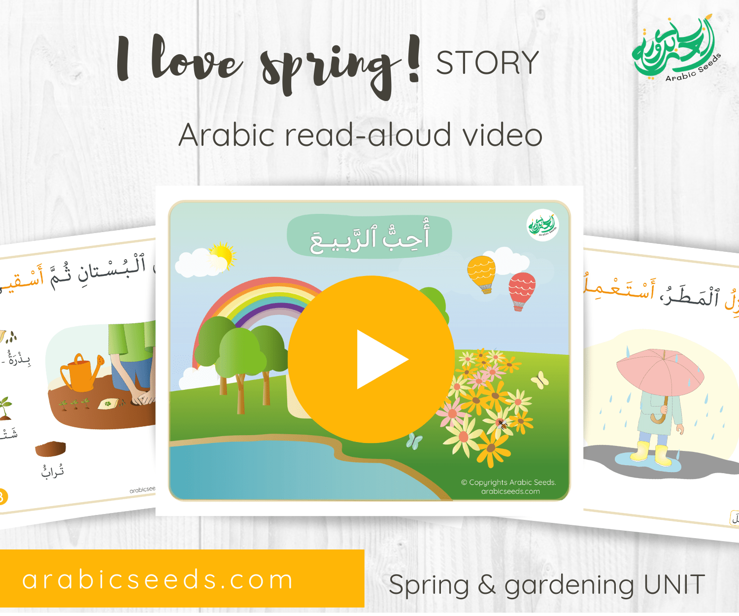 Arabic spring season Story for kids read aloud video - spring themed unit - Arabic Seeds