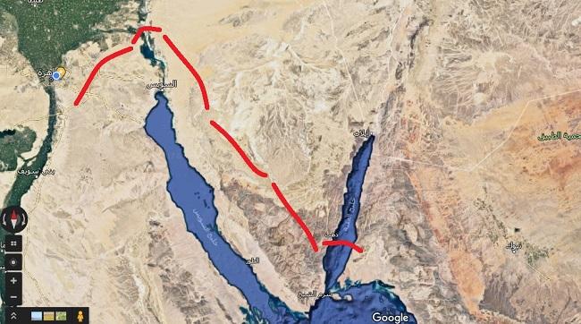 مسار خروج موسى وقومه من مصر كما تخيلته قناة العربية
