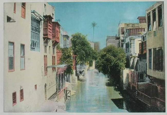 صورة فوتوغرافية ملونة يدويا، تظهر شكل الخليج المصري قبل ردمه