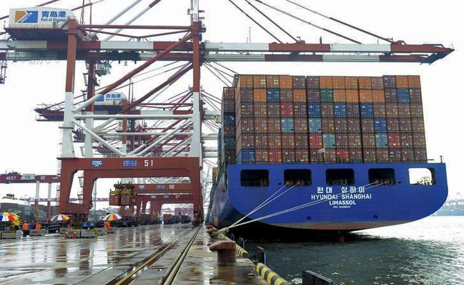 Image result for container ship at a port in Qingdao, China, photos