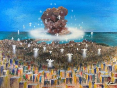 Lebanese artist auctions viral painting of Beirut blast to help people in  need | Arab News
