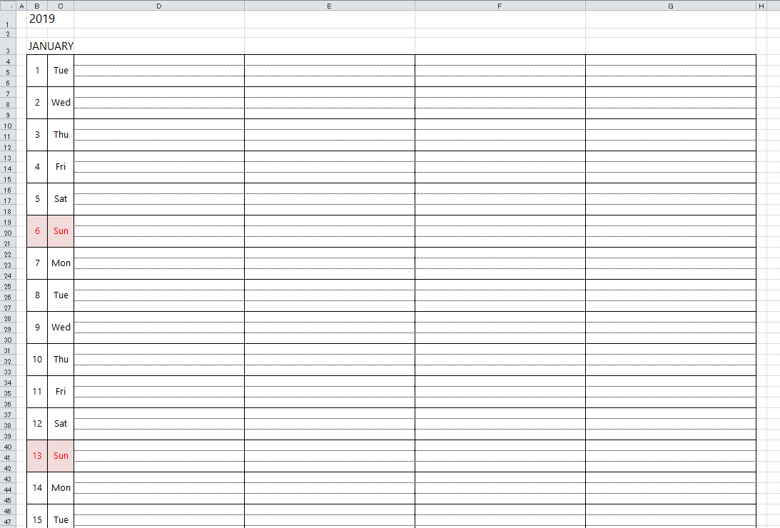 Simple Excel Calendar Template