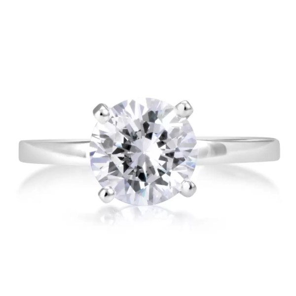 1 1 2 Ct Round Cut Diamond Solitaire Engagement Ring 18K White Gold 3