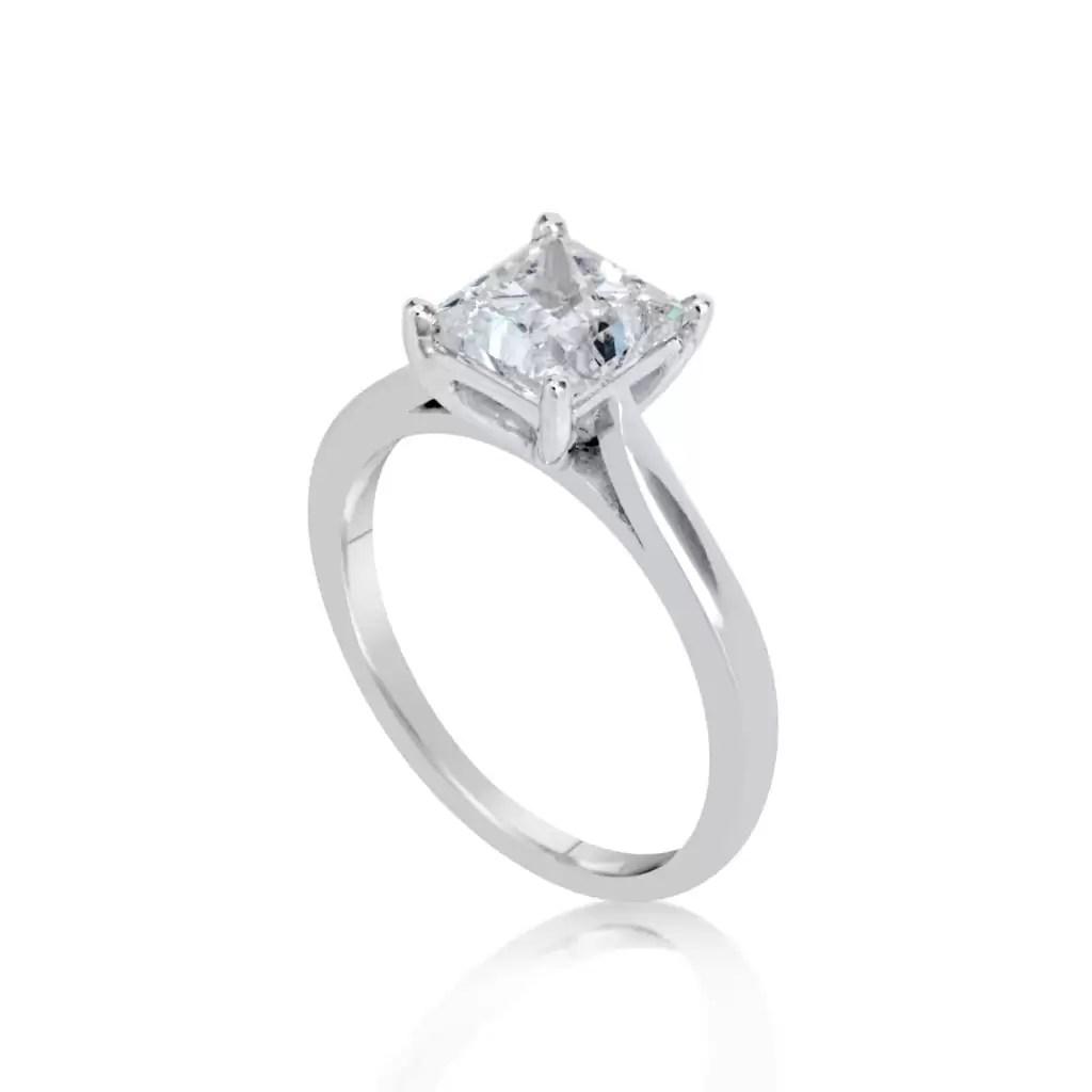 1 1/2 Ct Princess Cut Diamond Solitaire Engagement Ring