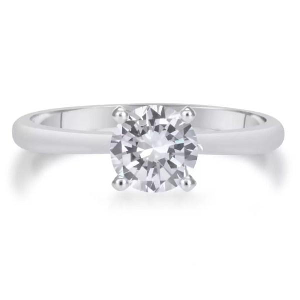 1 Carat Round Cut Diamond Engagement Ring 14K White Gold 3