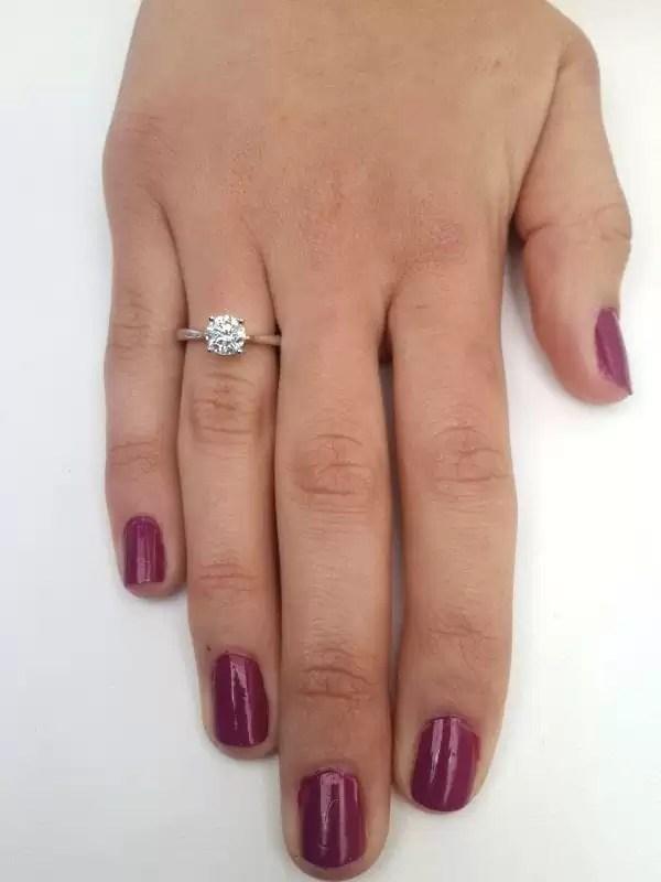 1 Carat Round Cut Diamond Engagement Ring 14K White Gold 4