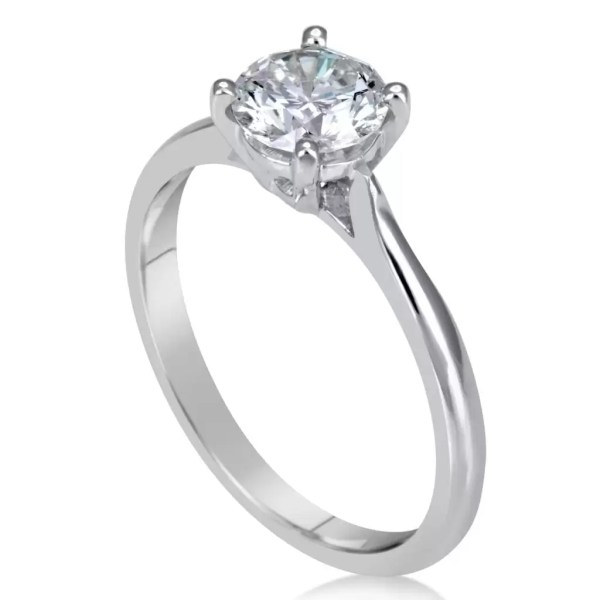 1.00 Ct Round Cut Diamond Solitaire Engagement Ring 14K White Gold 2