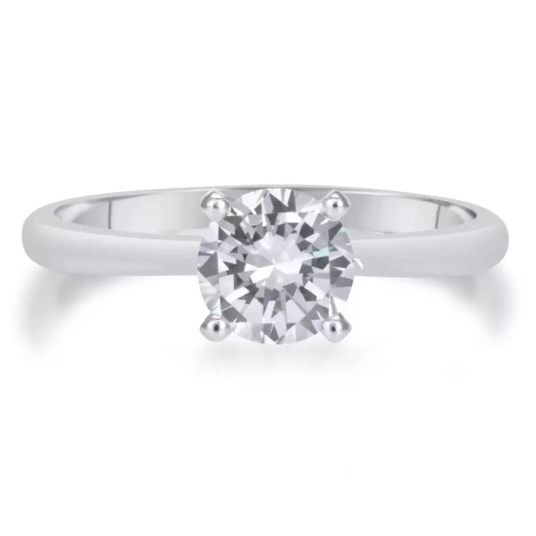1.00 Ct Round Cut Diamond Solitaire Engagement Ring 14K White Gold 3