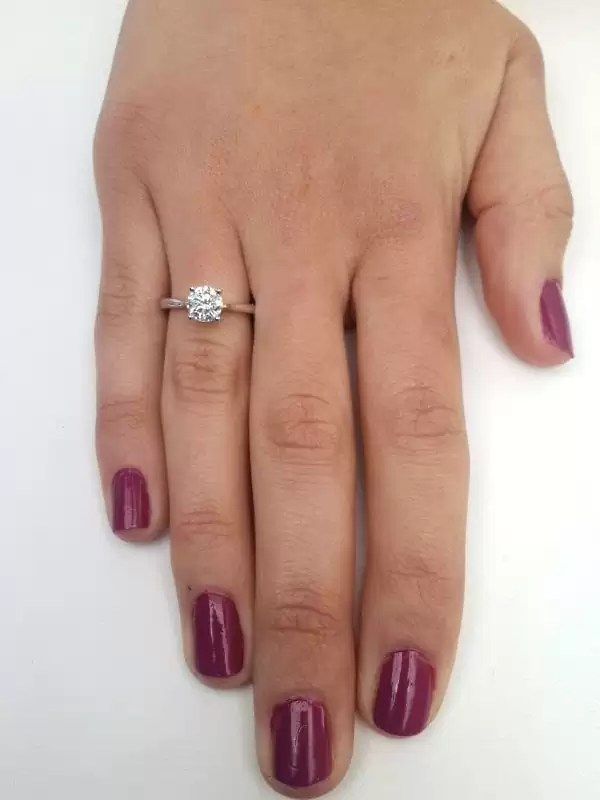 1.00 Ct Round Cut Diamond Solitaire Engagement Ring 14K White Gold 4