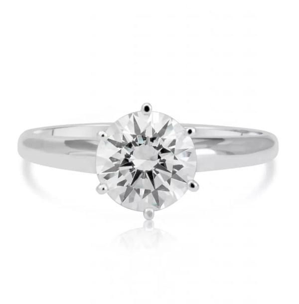 1.2 Carat Round Cut Diamond Engagement Ring 14K White Gold 4