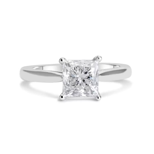 1.5 Carat Princess Cut Diamond Engagement Ring 14K White Gold 3