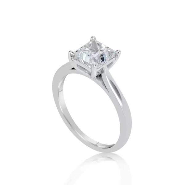 1.5 Carat Princess Cut Diamond Engagement Ring 14K White Gold
