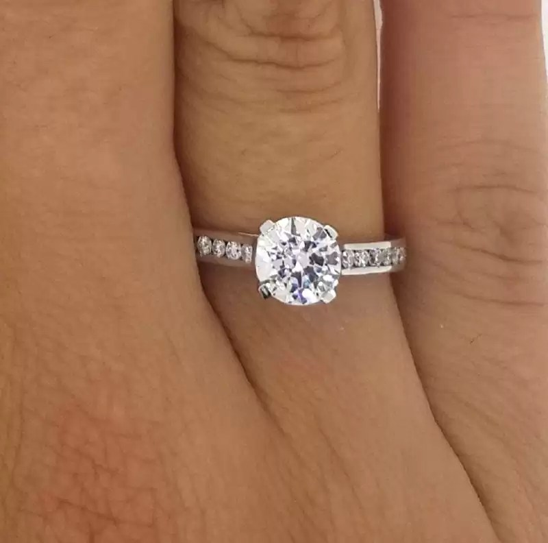 1 5 Carat Solitaire With Accents Round Cut Diamond Engagement Ring