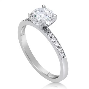 1.50 Ct Round Cut D/Si1 Diamond Solitaire Engagement Ring 18K White Gold