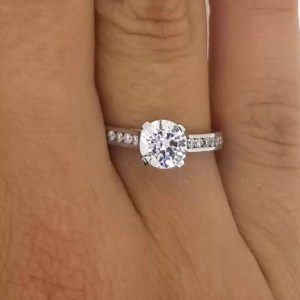 1.50 Ct Round Cut Diamond Solitaire Engagement Ring 14K White Gold