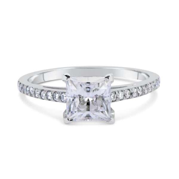 1.51 Ct Princess Cut Diamond Solitaire Engagement Ring 14K White Gold 2