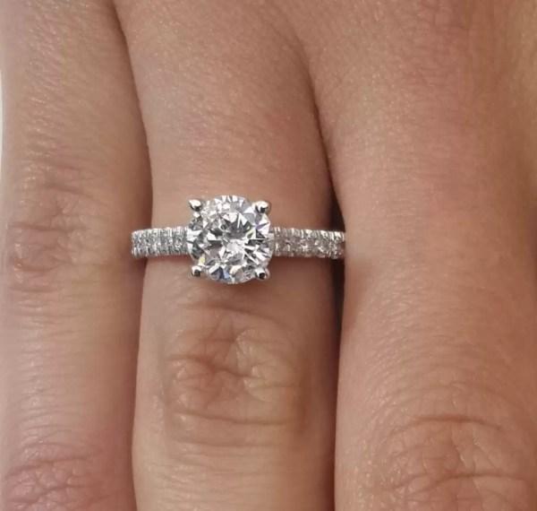 1.54 Carat Round Cut Diamond Engagement Ring 18K White Gold 3