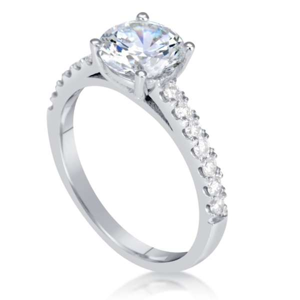 1.54 Carat Round Cut Diamond Engagement Ring 18K White Gold