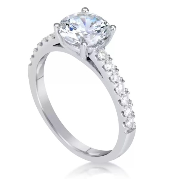 1.54 Ct Round Cut D Si1 Diamond Solitaire Engagement Ring 18K White Gold 2