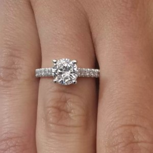 1.54 Ct Round Cut D Si1 Diamond Solitaire Engagement Ring 18K White Gold
