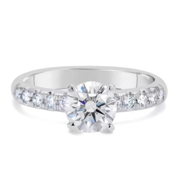 1.66 Carat Round Cut Diamond Engagement Ring 18K White Gold 2