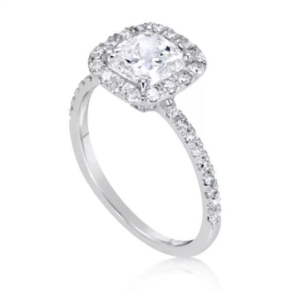 1.7 Carat Cushion Cut Diamond Engagement Ring 14K White Gold 4